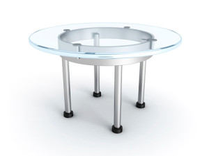 Modern galss table on a white background